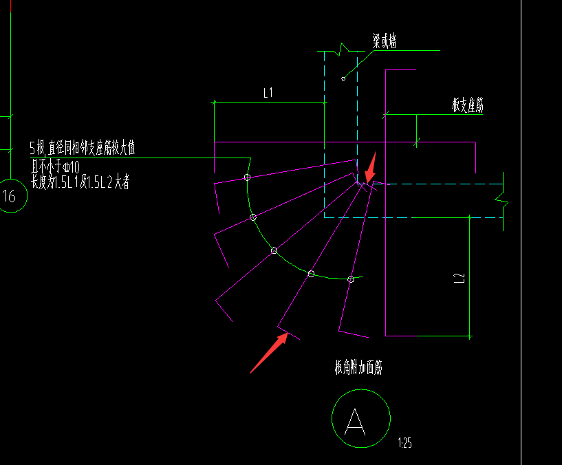 土建,江西,答疑:2个箭头部位钢筋长度如何计算 一边是板厚-保护层*2 另外一边呢-江西土建,